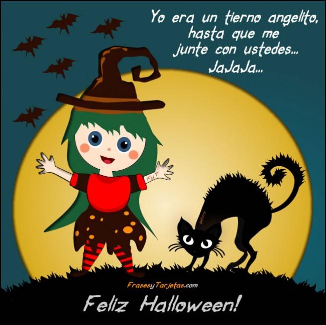 Frases y tarjetas de halloween de brujita y gato negro
