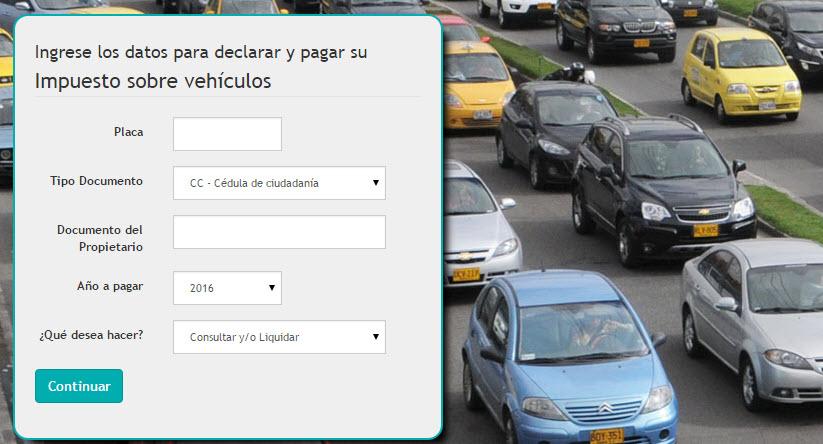 Herramienta para liquidar el impuesto de vehiculo 2016 en Bogota Cundinamarca