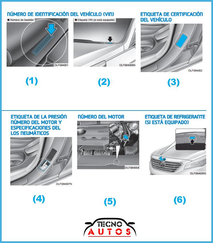 Identificación motor y chasis para improntas del hyundai sonata 2015