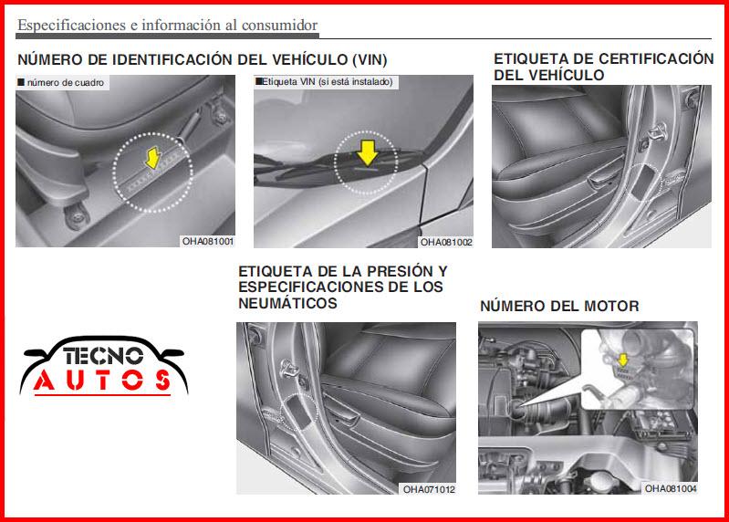 Número de motor y  chasis del vehículo Hyundai EON modelo 2015