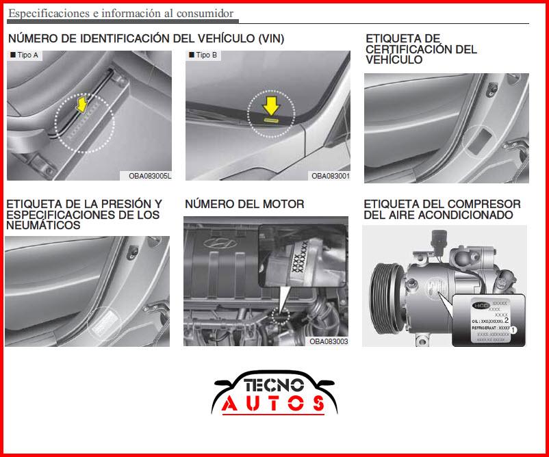 Número de motor y chasis de vehículo hyundai grand i10 modelo 2016