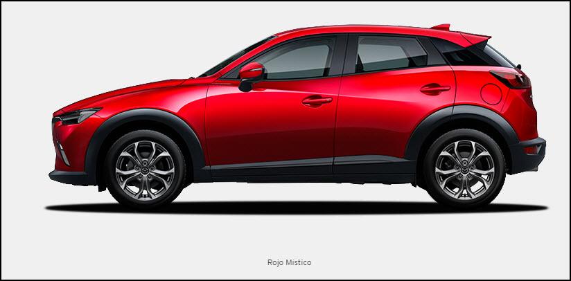 Vista de Mazda CX3 color Rojo Místico
