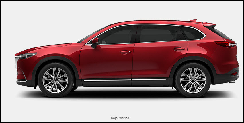 Vista mazda CX 9 color rojo mistico