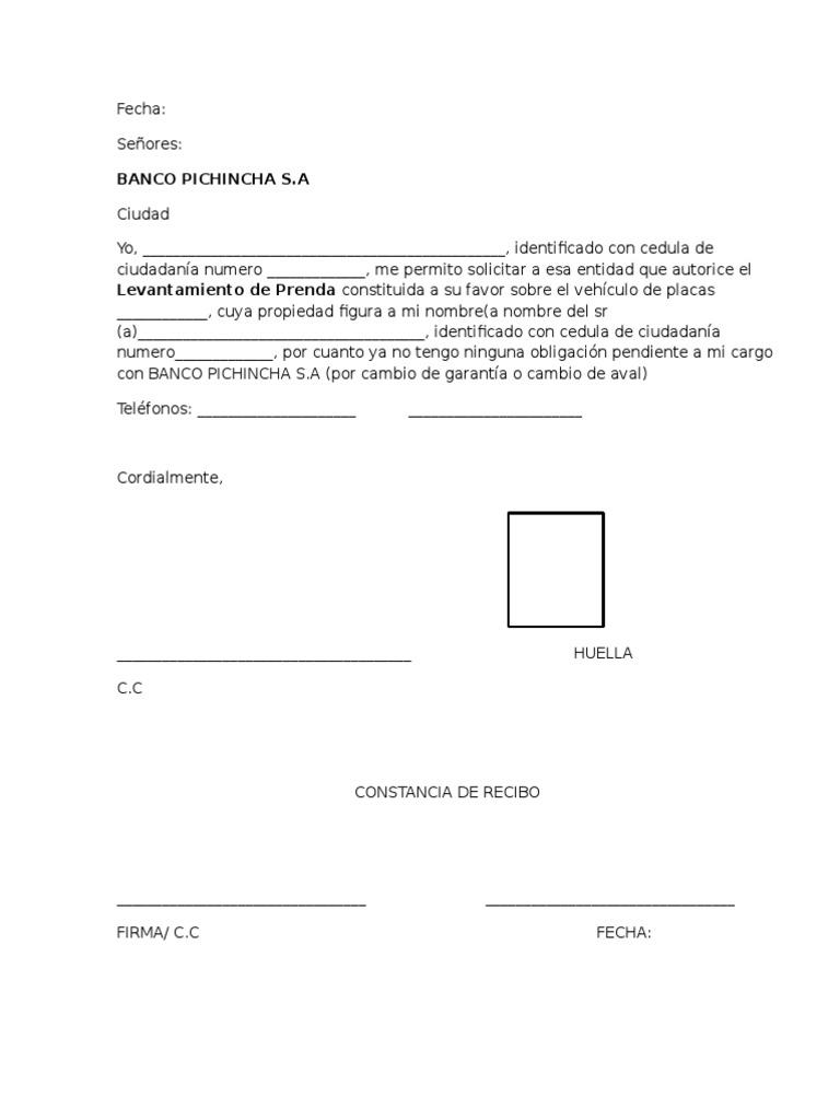 Carta para levantamiento de prenda del banco pichincha