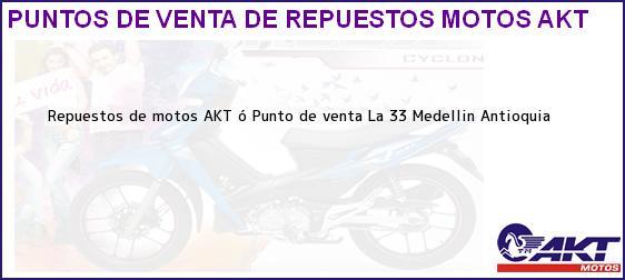 Teléfono, Dirección y otros datos de contacto para repuestos de motos AKT ó Punto de venta La 33, Medellin, Antioquia, Colombia