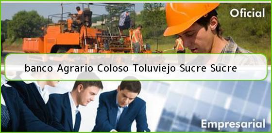 <b>banco Agrario Coloso Toluviejo Sucre Sucre</b>