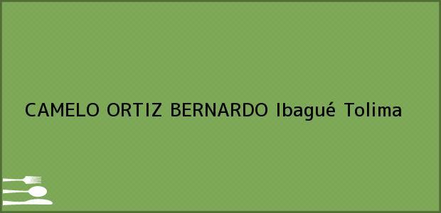 Teléfono, Dirección y otros datos de contacto para CAMELO ORTIZ BERNARDO, Ibagué, Tolima, Colombia