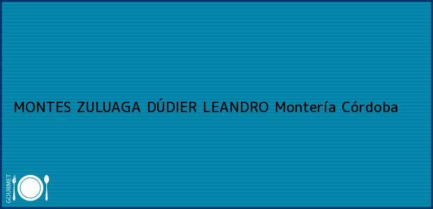 Teléfono, Dirección y otros datos de contacto para MONTES ZULUAGA DÚDIER LEANDRO, Montería, Córdoba, Colombia