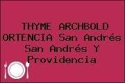 THYME ARCHBOLD ORTENCIA San Andrés San Andrés Y Providencia