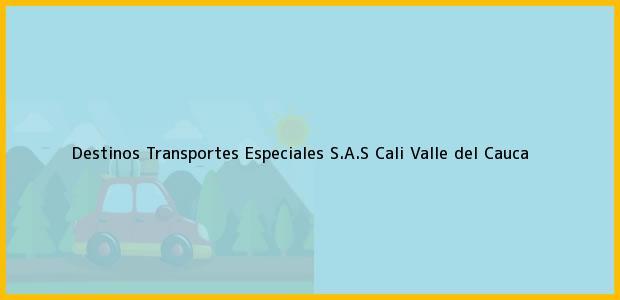 Teléfono, Dirección y otros datos de contacto para Destinos Transportes Especiales S.A.S, Cali, Valle del Cauca, Colombia