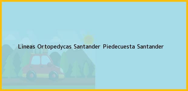 Teléfono, Dirección y otros datos de contacto para Lineas Ortopedycas Santander, Piedecuesta, Santander, Colombia