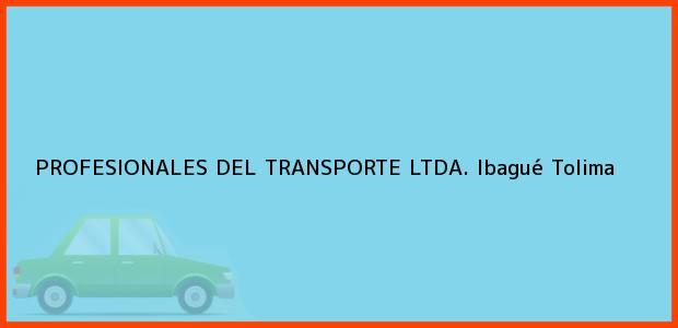 Teléfono, Dirección y otros datos de contacto para PROFESIONALES DEL TRANSPORTE LTDA., Ibagué, Tolima, Colombia