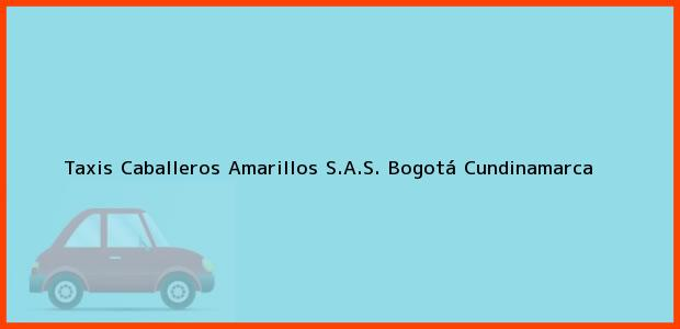 Teléfono, Dirección y otros datos de contacto para Taxis Caballeros Amarillos S.A.S., Bogotá, Cundinamarca, Colombia