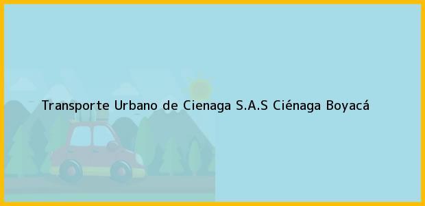 Teléfono, Dirección y otros datos de contacto para Transporte Urbano de Cienaga S.A.S, Ciénaga, Boyacá, Colombia