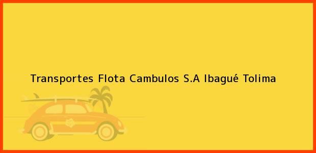 Teléfono, Dirección y otros datos de contacto para Transportes Flota Cambulos S.A, Ibagué, Tolima, Colombia