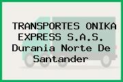 TRANSPORTES ONIKA EXPRESS S.A.S. Durania Norte De Santander