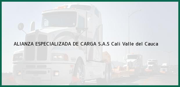 Teléfono, Dirección y otros datos de contacto para ALIANZA ESPECIALIZADA DE CARGA S.A.S, Cali, Valle del Cauca, Colombia