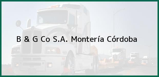 Teléfono, Dirección y otros datos de contacto para B & G Co S.A., Montería, Córdoba, Colombia