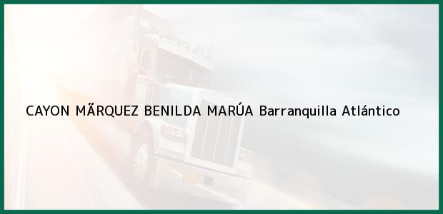 Teléfono, Dirección y otros datos de contacto para CAYON MÃRQUEZ BENILDA MARÚA, Barranquilla, Atlántico, Colombia