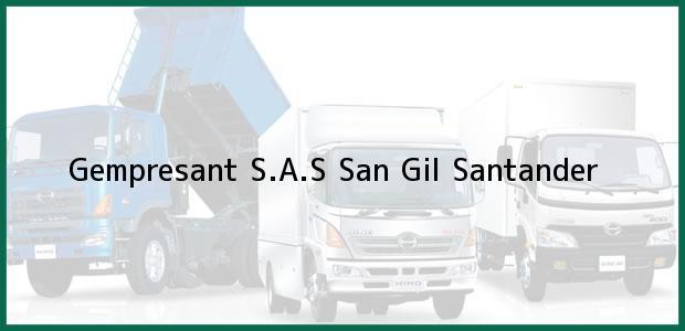 Teléfono, Dirección y otros datos de contacto para Gempresant S.A.S, San Gil, Santander, Colombia