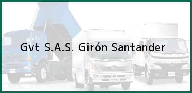 Teléfono, Dirección y otros datos de contacto para GVT SAS, Girón, Santander, Colombia