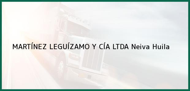 Teléfono, Dirección y otros datos de contacto para MARTÍNEZ LEGUÍZAMO Y CÍA LTDA, Neiva, Huila, Colombia
