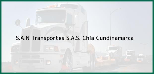Teléfono, Dirección y otros datos de contacto para S.A.N Transportes S.A.S., Chía, Cundinamarca, Colombia