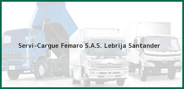 Teléfono, Dirección y otros datos de contacto para Servi-Cargue Femaro S.A.S., Lebrija, Santander, Colombia