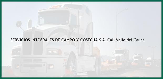 Teléfono, Dirección y otros datos de contacto para SERVICIOS INTEGRALES DE CAMPO Y COSECHA S.A., Cali, Valle del Cauca, Colombia