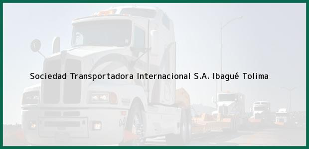 Teléfono, Dirección y otros datos de contacto para Sociedad Transportadora Internacional S.A., Ibagué, Tolima, Colombia