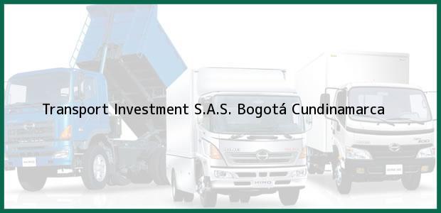 Teléfono, Dirección y otros datos de contacto para Transport Investment S.A.S., Bogotá, Cundinamarca, Colombia