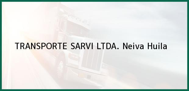 Teléfono, Dirección y otros datos de contacto para TRANSPORTE SARVI LTDA., Neiva, Huila, Colombia