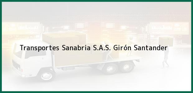 Teléfono, Dirección y otros datos de contacto para Transportes Sanabria S.A.S., Girón, Santander, Colombia
