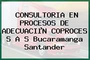 CONSULTORIA EN PROCESOS DE ADECUACIµN COPROCES S A S Bucaramanga Santander