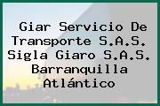 Giar Servicio De Transporte S.A.S. Sigla Giaro S.A.S. Barranquilla Atlántico