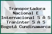 Transportadora Nacional E Internacional S A S Traninter S A S Bogotá Cundinamarca