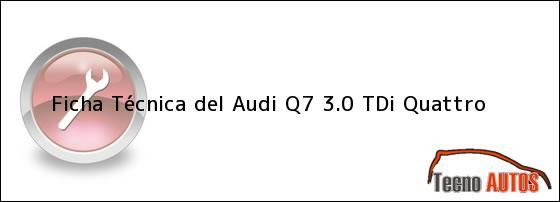Ficha Técnica del Audi Q7 3.0 TDi Quattro
