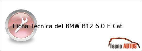 Ficha Técnica del <i>BMW B12 6.0 E Cat</i>
