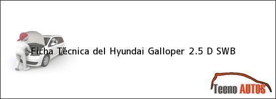 Ficha Técnica del <i>Hyundai Galloper 2.5 D SWB</i>