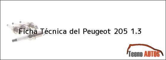 Ficha Técnica del <i>Peugeot 205 1.3</i>