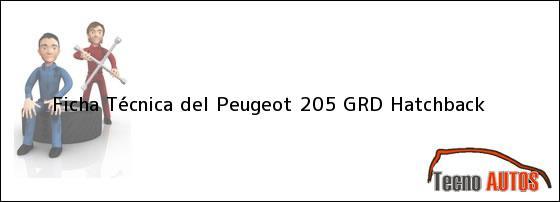 Ficha Técnica del <i>Peugeot 205 GRD Hatchback</i>