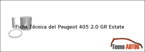 Ficha Técnica del <i>Peugeot 405 2.0 GR Estate</i>