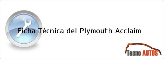 Ficha Técnica del <i>Plymouth Acclaim</i>
