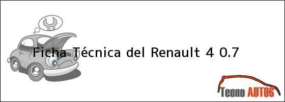 Ficha Técnica del <i>Renault 4 0.7</i>