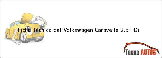 Ficha Técnica del <i>Volkswagen Caravelle 2.5 TDi</i>