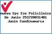 Teléfono y Dirección Nueva Eps, Ese Policlinico De Junin – (253720031401), Junín, Cundinamarca