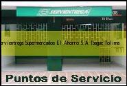 Teléfono y Dirección Servientrega, Supermercados El Ahorro S.A., Ibague , Tolima
