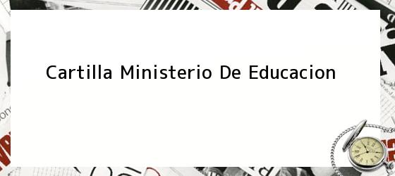 Cartilla Ministerio De Educacion
