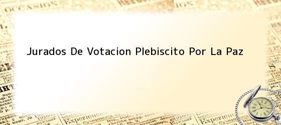 Jurados De Votacion Plebiscito Por La Paz