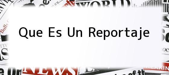 Que Es Un Reportaje